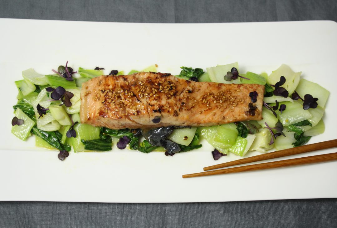 teriyaki lachs mit pak choi friedas kitchen on my mind. Black Bedroom Furniture Sets. Home Design Ideas
